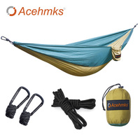 Acehmks 2 People Portable Parachute Hammock Camping Survival Garden Hunting Leisure Travel Double Person With 2 Tree Ropes 300CM