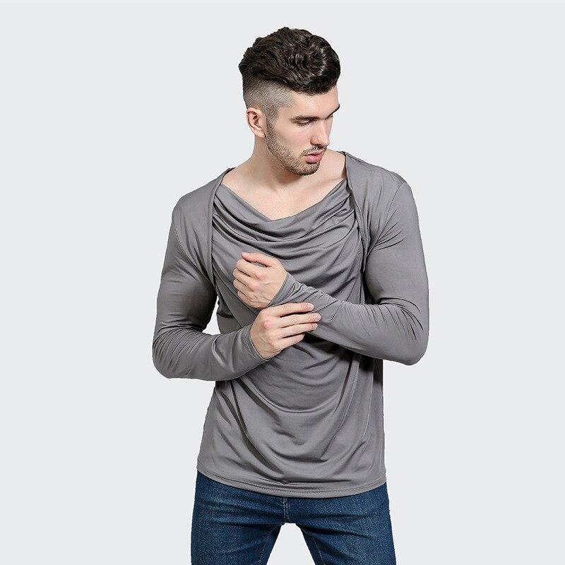 Night Club T Shirt Men Fashion Irregular Pile Collar Cotton Mens T Shirts Long Sleeve Slim Fit Tee Shirt Homme Casual T-shirts
