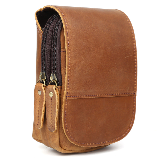 Tiding Small Leather Waist Pack For 6 inch Cell Phone Pouch Simple Case with Flap Cover 3129