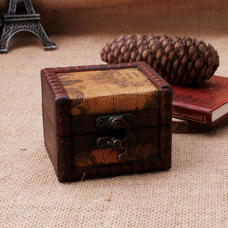 Vintage Wooden Map Storage Box Case Jewellery Cufflinks Chest Small Gift New Y4QB in Jewelry Packaging Display from Jewelry Accessories