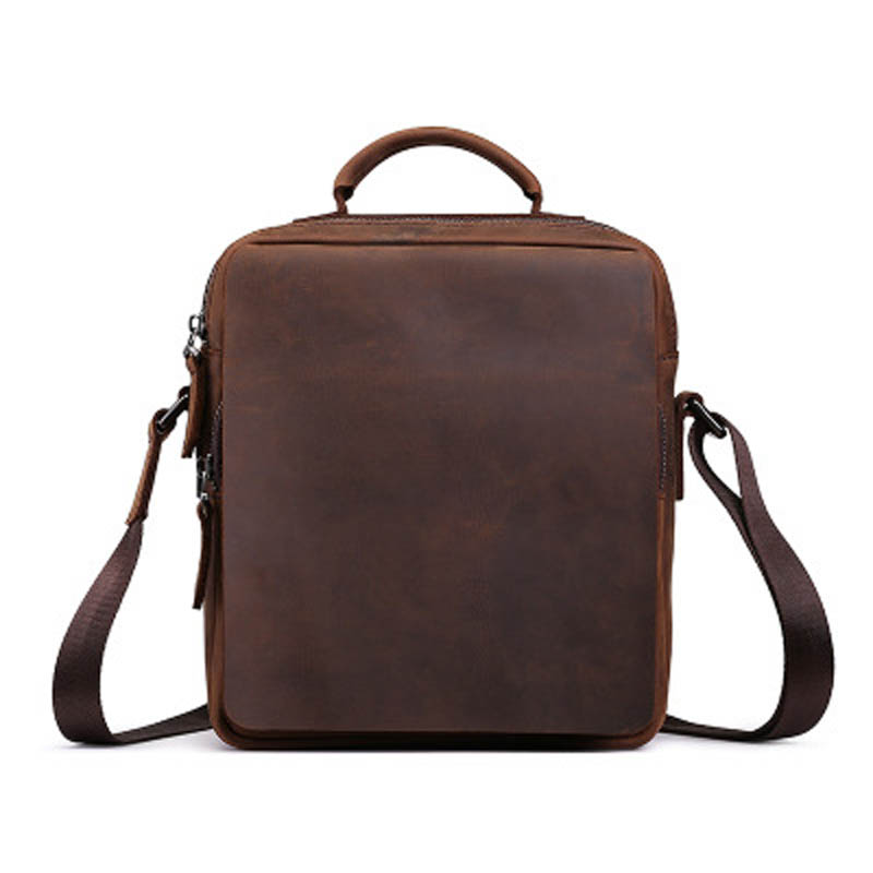 YISHEN Vintage Crazy Horse Genuine Leather Men Messenger Bags Fashion Retro Business Men Handbags Crossbody Shoulder Bag LS0190 crazy horse genuine leather bag men vintage messenger bags casual totes business shoulder crossbody bags men s travel handbags