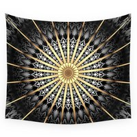 Black White Gold Mandala 2 Wall Tapestry Wedding Party Gift Bedspread Beach Towel Yoga Picnic Mat