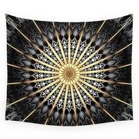 Black White Gold Mandala 2 Wall Tapestry Wedding Party Gift Bedspread Beach Towel Yoga Picnic Mat