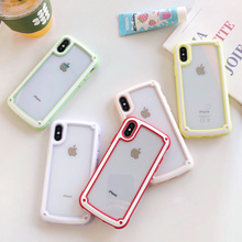 Новый высокопрозрачный акриловый силиконовый цветной каркас анти-капля Телефон чехол для iPhone 6 6s 8 7 плюс X XS XR XS MAX чехол для телефона
