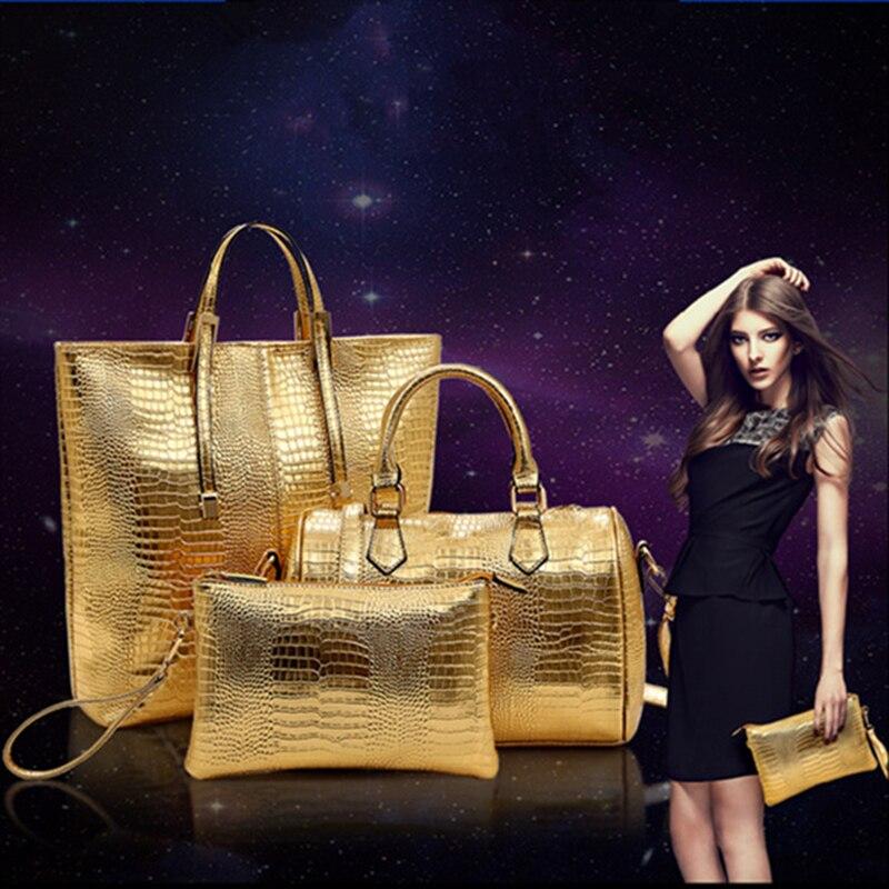 3 Pieces font b Set b font Women Messenger Bags Shoulder Wallet PU Leather font b