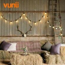 Yunji IP65 5M/10M String Light with 20Bulbs Clear/Milky bulbs, Connectable Vintage Festoon ball Christmas fairy light for Patio
