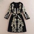 Europa ee.uu. 2016 nueva otoño invierno clothing wholesale 3 cuartos de manga de la cintura delgada bordada negro abrigo de lana con cinturón