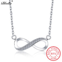 Blaike реальные S925 стерлингового серебра бесконечная подвеска ожерелья для Для женщин инкрустация белый Циркон блеск буквы колье-чокер, хорошее ювелирное изделие