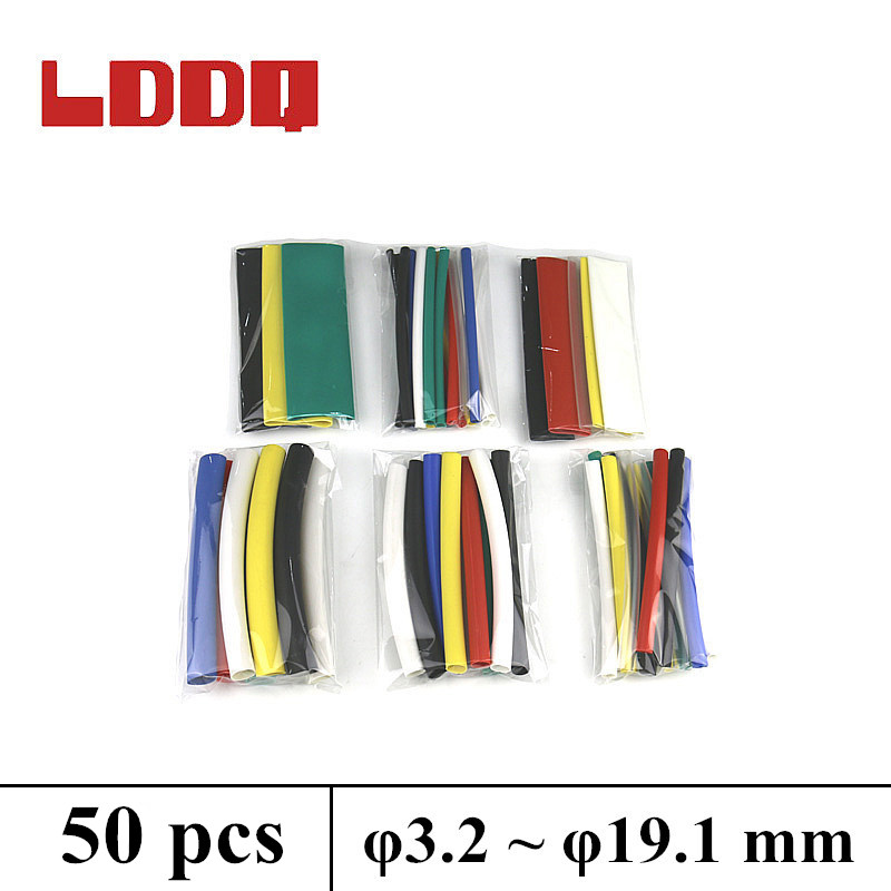 LDDQ New 50pcs Heat Shrink 7 Colors Adhesive Glue Lined Tubing Tube Wire Shrink Wrap 3:1 Shrink Waterproof 6sizes Best Promotion