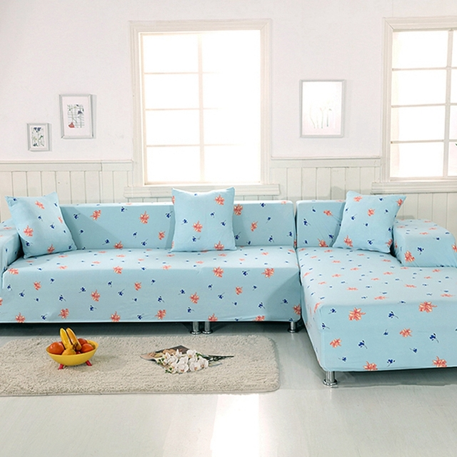 Bon 2PCS Cushion Covers Blue Flowers Stretch Furniture Covers For Living Room L  Shape Sofa Slipcovers Elastic
