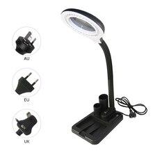LED masa lambası işıklı esnek bükülebilir masa ışığı göz koruması okuma lambası depolama sepeti ile büyüteç Lens tasarımı