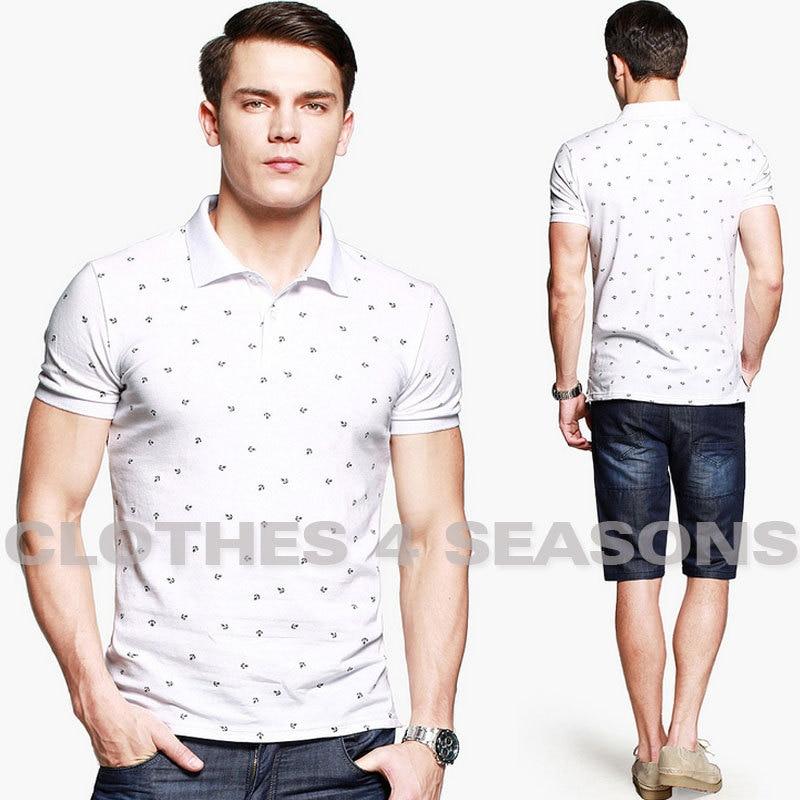 Aliexpress.com : Buy 2014 Man Fashion White Anchor Printed Shirt ...