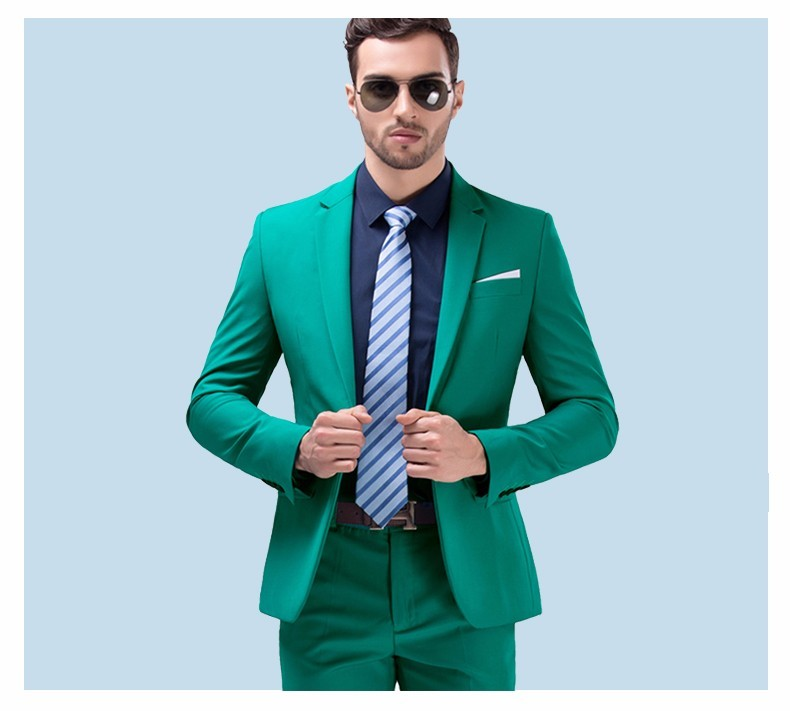 Men Green Party Suit Slim Fit New Fashion Purple and White Wedding Suit Men CD50