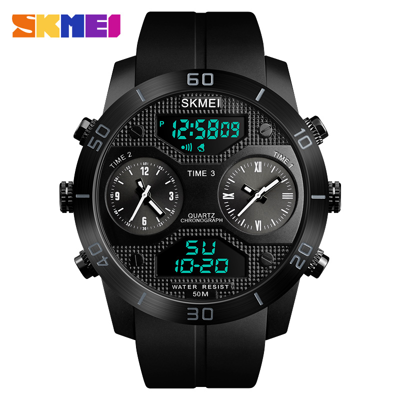 цена на SKMEI Sports Outdoor Watch Men 50m Waterproof LED Electronic Watch Vibrating Stainles Steel Dual Display Watch relogio masculino