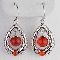 925 Silver Natural Crystal Red stone Earrings