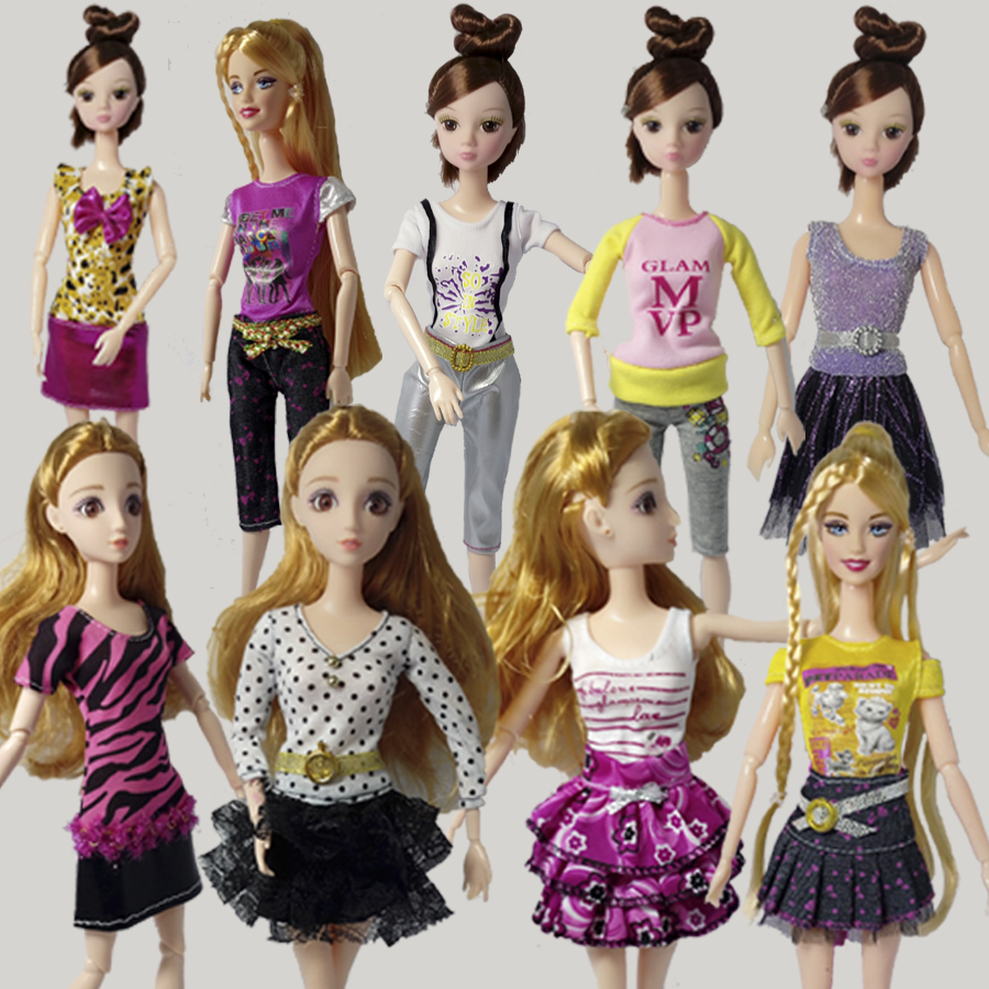 10pcs/lot Lovely Handmade Fairly Gown For Barbie Doll Garments Trend Outfit For 1/6 Dolls Gown Current For Children