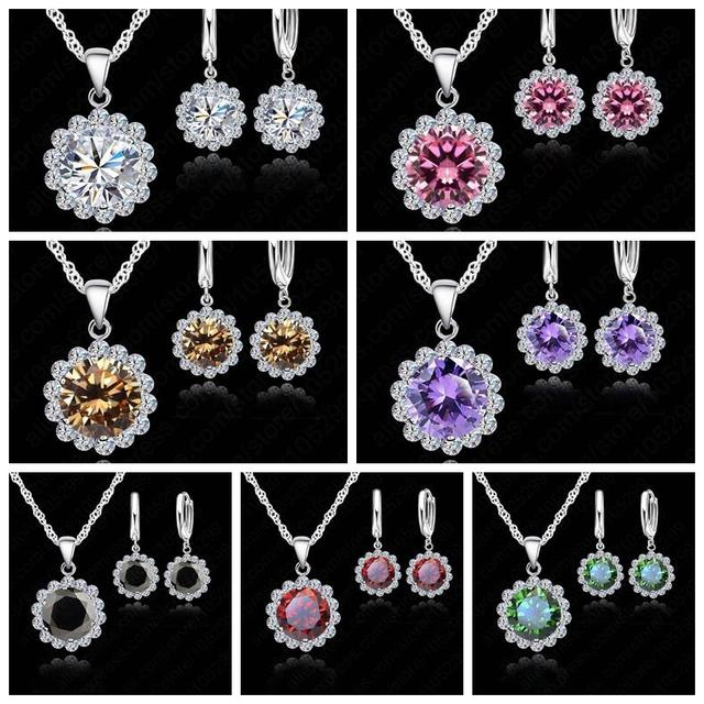 Wholesale Price Wedding Jewelry Set 925 Pure Silver Cubic Zircon Necklace Pendant/Earrings Fashionable Women Set