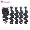 5 pcs lot peruano virgin cabelo onda do corpo fechamento lace closure com 4 pcs cabelo bundles não transformados cabelo humano weave