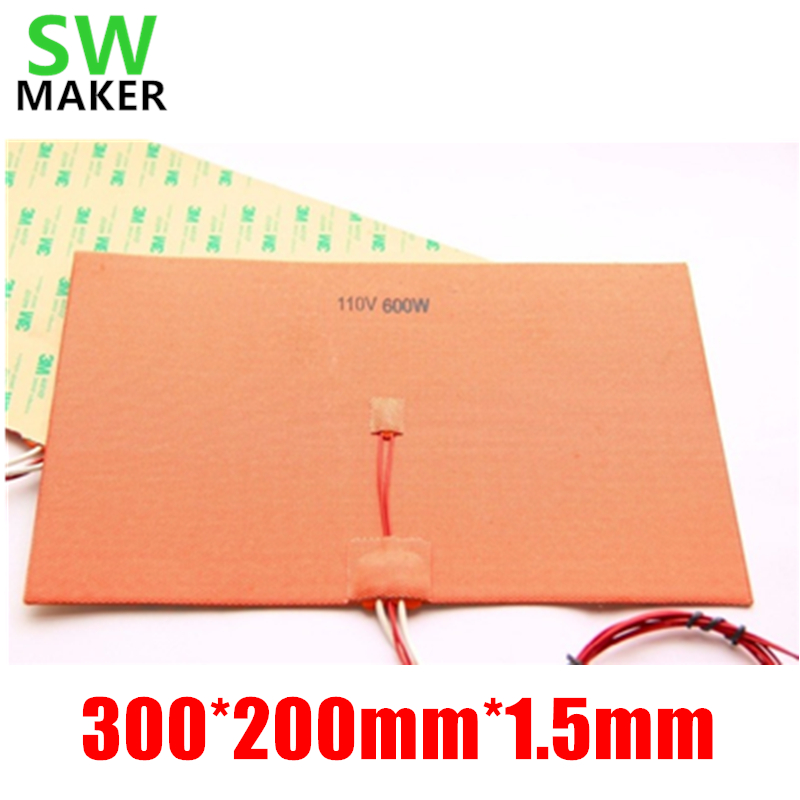 SWMAKER 110V/220V 600W 200X300mm Silicone Heater Pad heating mat for Reprap 3D Printer HeatBed with 3M and Thermistor dia 400mm 900w 120v 3m ntc 100k round tank silicone heater huge 3d printer build plate heated bed electric heating plate element