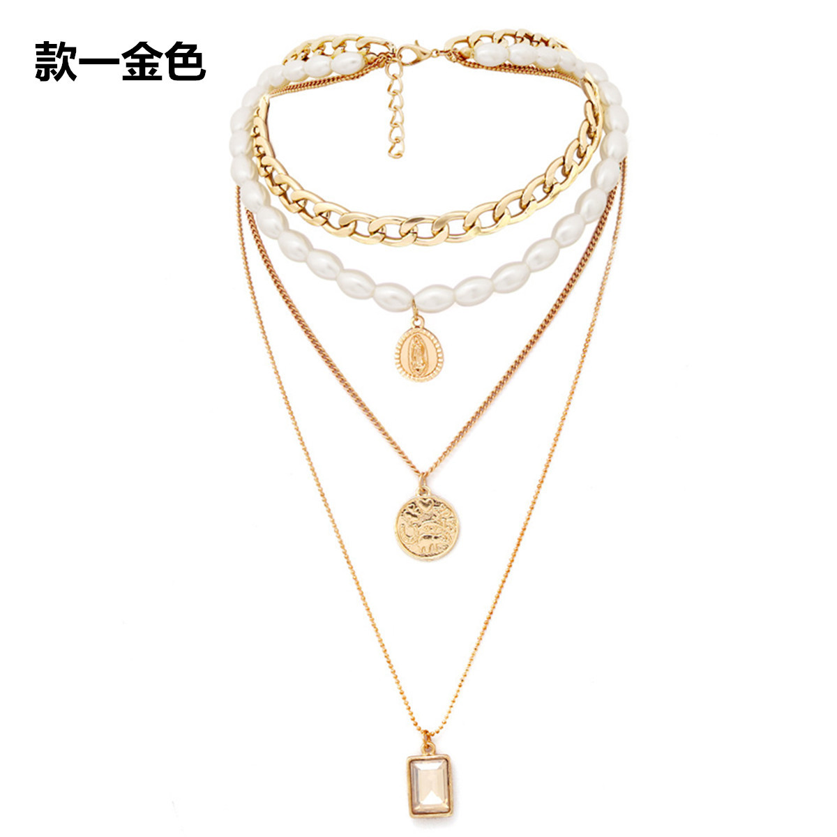 Retro Fashion Elegant Necklace with Individual Temperament and Multi layer Pearl Items in Pendant Necklaces from Jewelry Accessories