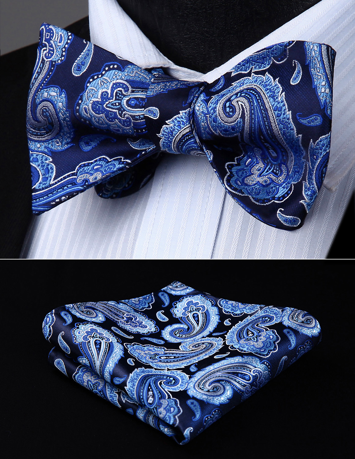 Men Bow Tie Handkerchief Set Woven Party Wedding Black Blue Paisley Self Bow Tie Pocket Square Set#BP831VS