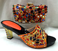 Alta Calidad Sandalia Italiano Con Rhinestones Coloridos Zapatos Con Bolsa de Partido Africano Set Mujeres Zapatos Y Bolso de Set TH08