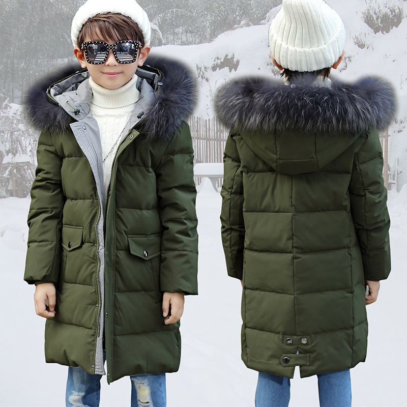 Boy 2017 new Korean long thickened down jacket winter for size 8 9 10 11 12 13 14 years child big fur collar hooded casual coat цены онлайн