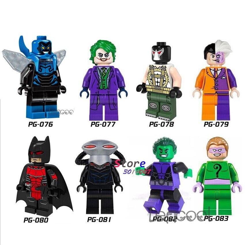 1PCS model building blocks superhero Blue Beetle Joker Bane Two Face Batman Black Manta Beast Boy Riddler toys for children gift
