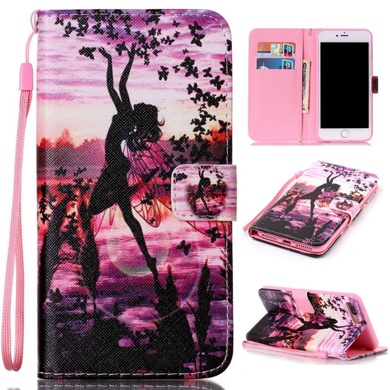 newest 16b0e f5ca1 3D Painted Skull Butterfly PU Leather Case for iPhone 5 5S SE 6 6S 7 ...