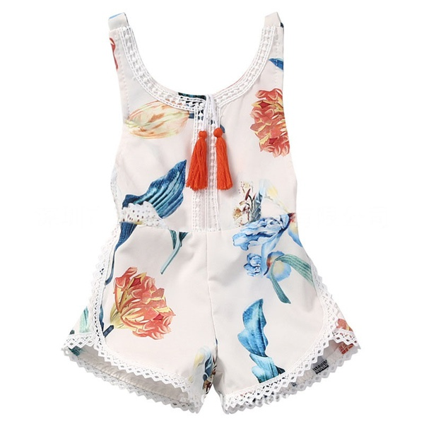 Summer Tassels Sleeveless Dress Floral Print Rompers