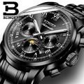 Luxury Watch Men Black Stainless Steel Automatic Mechanical Waterproof Multifunction Watch relogio masculino Luminous Calendar
