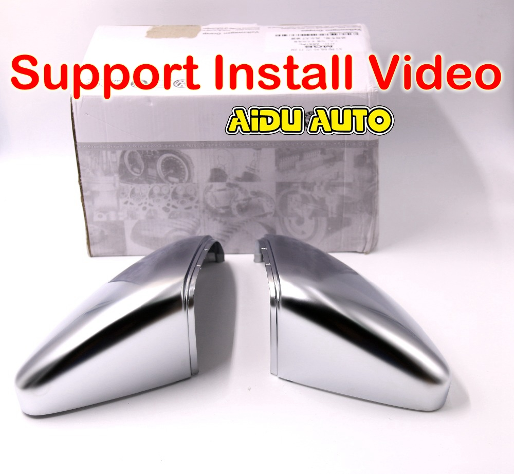 ФОТО Sport Golf R GTI Chrome Rearview outside aluminum Satin finish Mirror Cover shell  For  Golf 7 MK7 VII