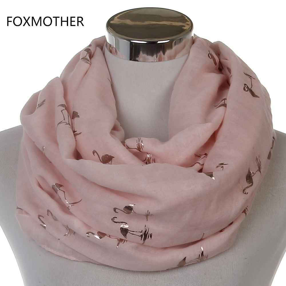 FOXMOTHER 2018 New Fashion Glänsande Rosa Mynt Bronzing Folie Guld Flamingo Swan Ring Scarf Snood Foulard Sjal Women Dropshipping