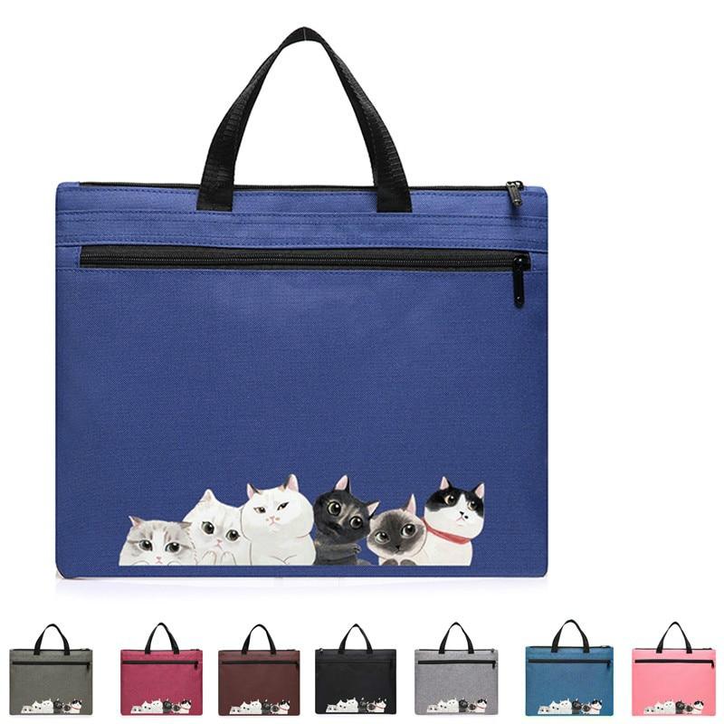 Korean Style Portable File Bag Multicolor Fashion Creative Tote A4 Zipper Men Woman Briefcase Document Bag Waterproof Canvas Bag
