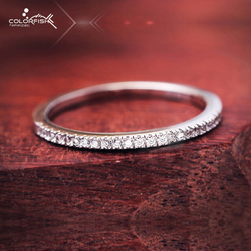 COLORFISH Thin Match Wedding Band Rings For Women Micro Pave AAA Cubic Zirconia Jewelry Simple