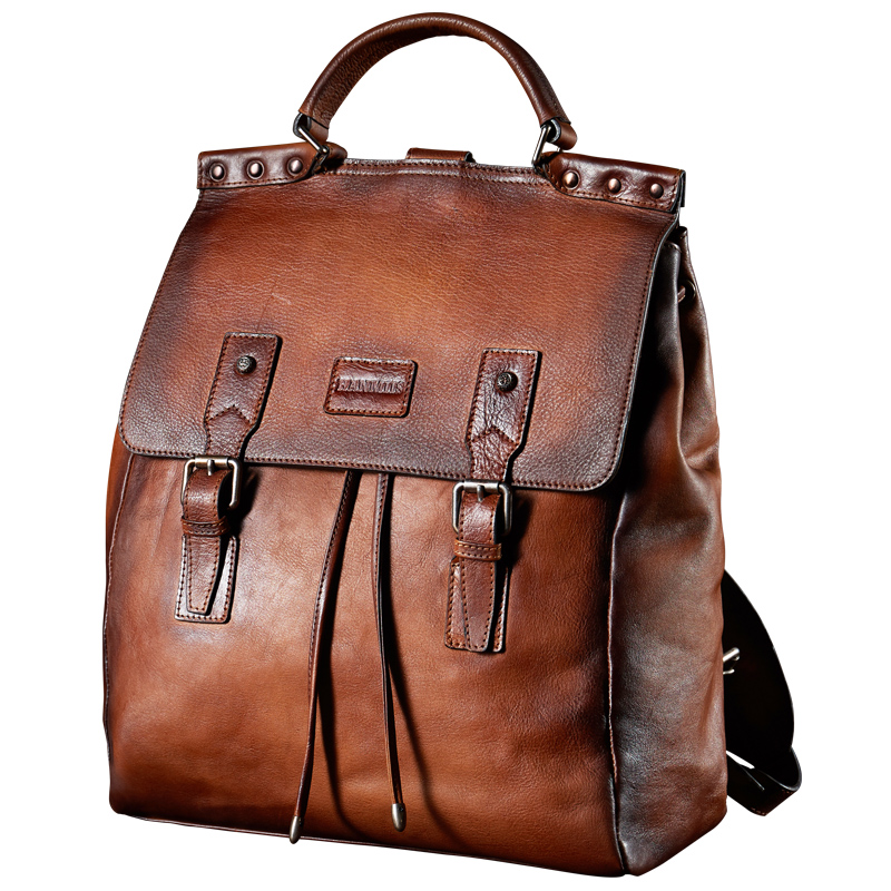 Backpack Luxury Mens Cow Leather Backpack Business casual men's Backpack Vintage style cowhide backpack цена