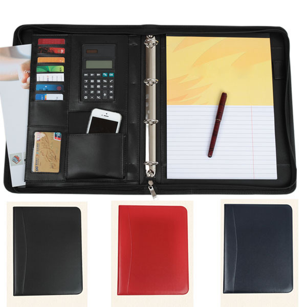 black/blue/red business zipper PU leather portfolio a4