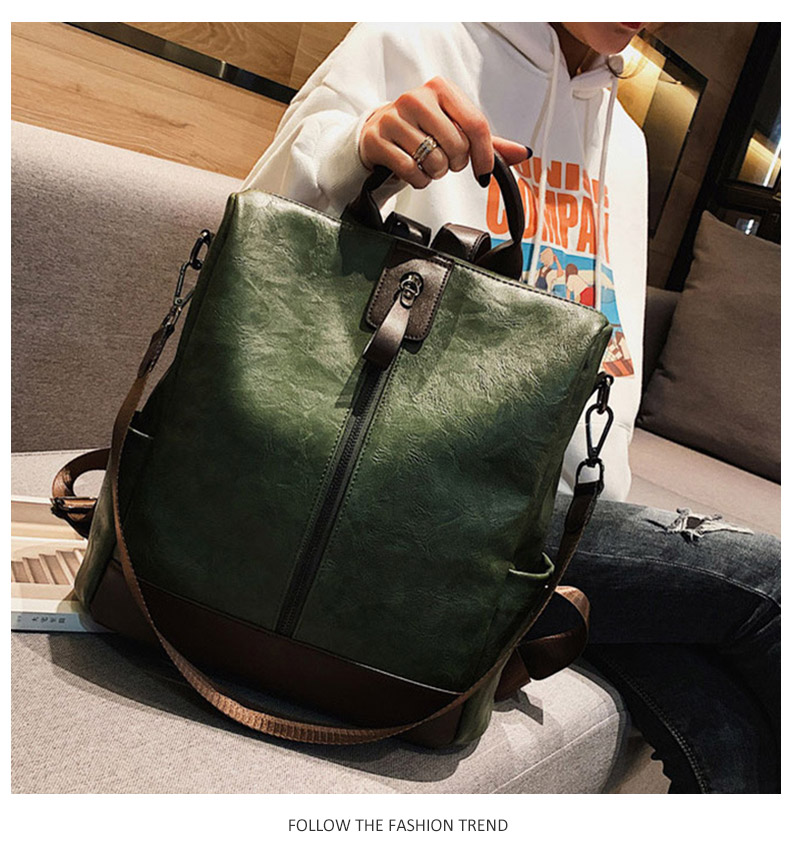 HTB1AXcXbfvsK1RjSspdq6AZepXaR Fashion Women High Quality Leather Backpack Multifunction Leatherett Backpack For Female Big Bookbag Travel Bag Sac A Dos XA279H