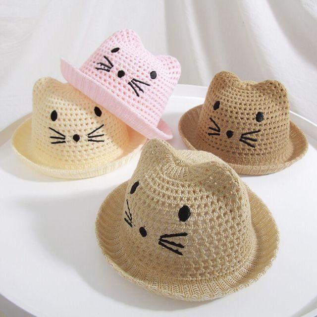 MAERSHEI Dei Bambini del gatto del ricamo del cappello del sole spiaggia  dei bambini del cappello primavera estate Sveglio Del Bambino della ragazza  casuale ... 116f3d7985a1