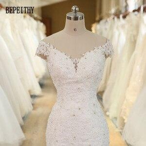 Image 4 - BEPEITHY Vestido De Novia con hombros descubiertos, novedad, vestidos De Novia con cuentas De encaje, sirena, boda, 2019