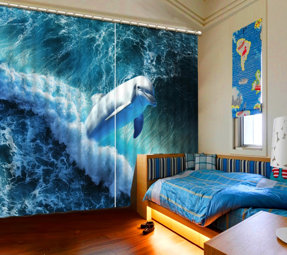 Dolphin wavev photo curtains 3d Living room bedroom hotel curtains for sale Any size modern curtain Dolphin wavev photo curtains 3d Living room bedroom hotel curtains for sale Any size modern curtain