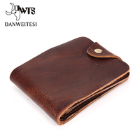 DWTS Man Wallet Leather With Coin Pocket Short Brown Cowhide Male Purse European Wallets