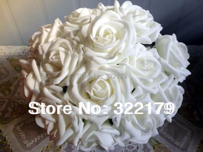 buy 100x fake flowers white foam roses bridal bouquet artificial wedding. Black Bedroom Furniture Sets. Home Design Ideas