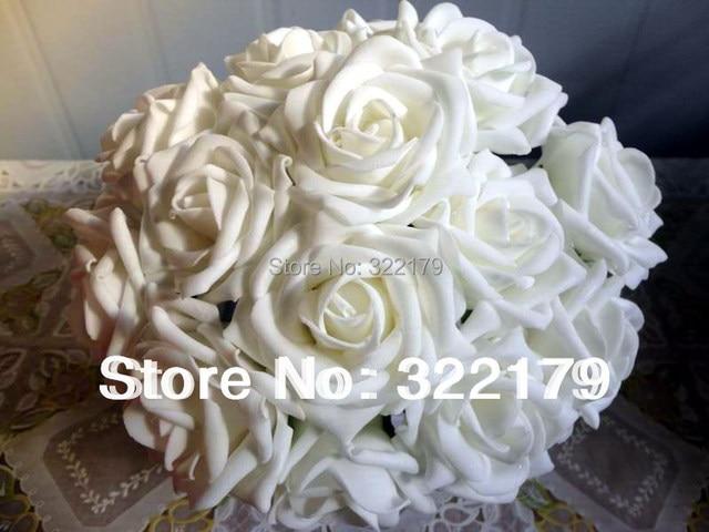 Aliexpress buy 100x fake flowers white foam roses bridal 100x fake flowers white foam roses bridal bouquet artificial wedding christams decor centerpiece flowers wholesale lots mightylinksfo