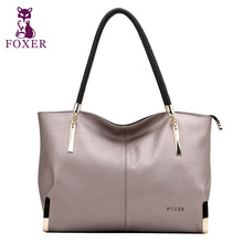 FOXER Zipper Women's Cow Leather Shoulder bag & Handbag Female Bags Lady Totes