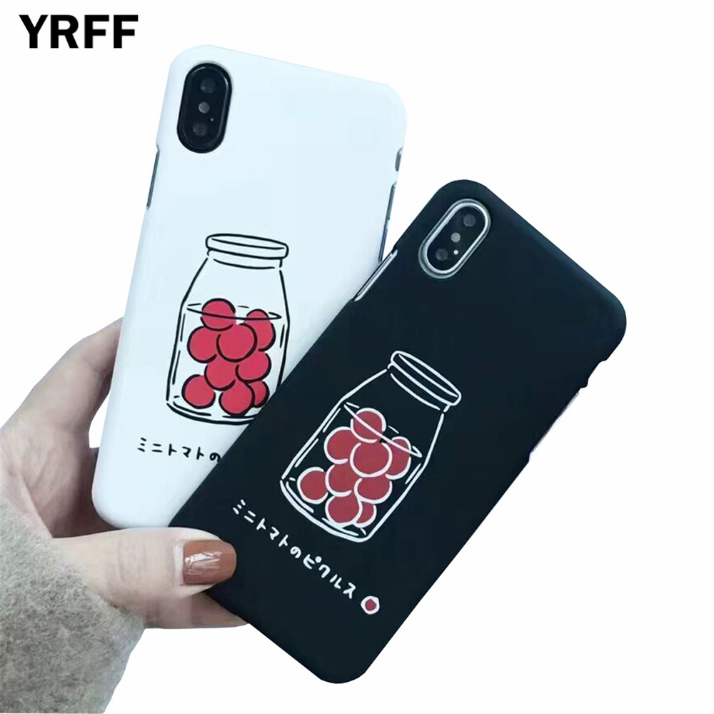 YRFF Hard PC Matte Phone Case For iphone X Case For iphone 6 6S 7 8 Plus Lovely Cartoon Bottle Pattern Back Cover Fashion Cases