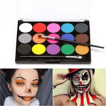 15 Colors Fans Non-toxic Art Face Makeup Cosplay Pigment Devil With Brush Water-Soluble Party Drawing Body Paint Fancy Safe Use