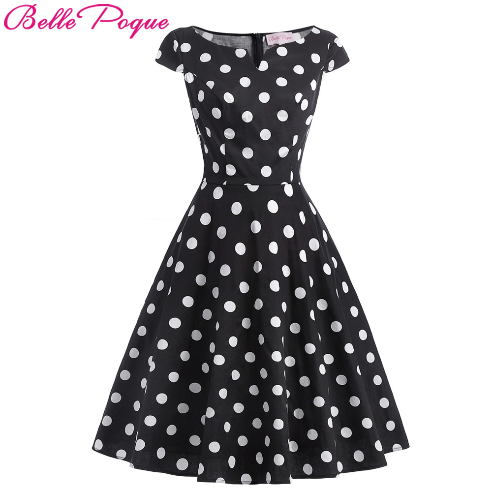 Belle Poque Women Vintage Rockabilly Polka Dot Dress 2017 Summer Tunic Retro Office Casual Party Pin up Big Swing Skater Dresses