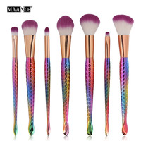 MAANGE 7PCS Foundation Eyebrow Eyeliner Blush Cosmetic Concealer Makeup Brushes Set Professional Pincel Maquiagem Sereia Oval
