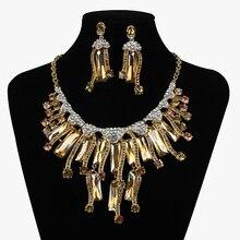 Declaración de nueva Moda Crystal Sistemas de la Joyería de Aretes Collar Nupcial de La Boda de dama de Honor Novias Partido Mujeres Regalo de La Decoración